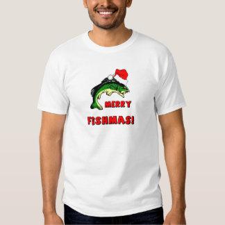 Funny Christmas fishing Tee Shirts