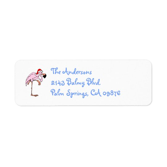 Funny Christmas Flamingo Address Label
