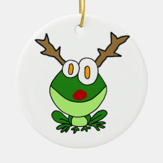 Funny Christmas Frog as Reindeer Round Ceramic Ornament
