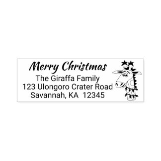 Funny Christmas Giraffe Stamp Return Address