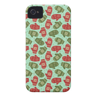 Funny Christmas Gloves and snowflakes green bg iPhone 4 Cover
