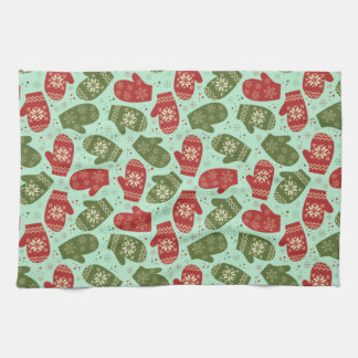 Funny Christmas Gloves and snowflakes green bg Kitchen Towel