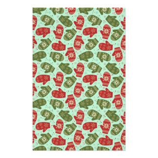 Funny Christmas Gloves and snowflakes green bg Personalized Stationery