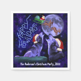 Funny Christmas Happy Howlidays Wolf Pun Party Disposable Napkins