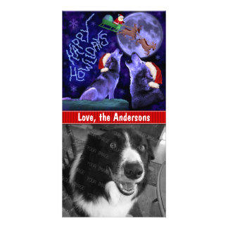 Funny Christmas Happy Howlidays Wolf Pun Pet Dog Photo Card
