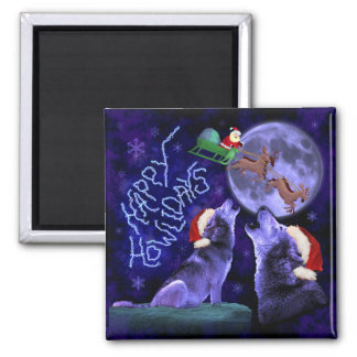 Funny Christmas Happy Howlidays Wolf Pun Square Magnet
