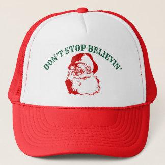 "Funny Christmas Hat: ""DON'T STOP BELIEVIN"" Trucker Hat"