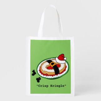 FUNNY CHRISTMAS HOLIDAY SANTA CLAUS REUSABLE BAG