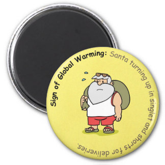Funny Christmas Magnet: Global Warming and Santa Magnet