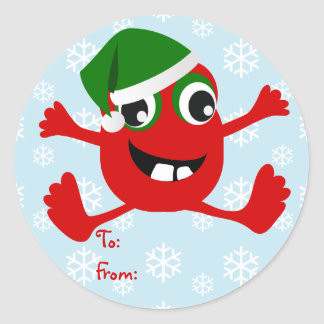 Funny Christmas Monster Gift Tag Stickers