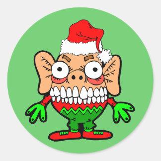 Funny Christmas monster Round Sticker