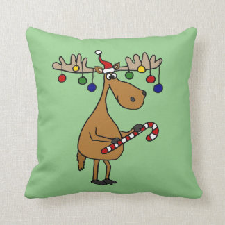 Funny Christmas Moose with Ornaments Throw Pillow