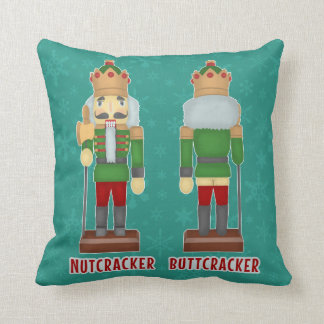 Funny Christmas Nutcracker Buttcracker Humorous Throw Pillow