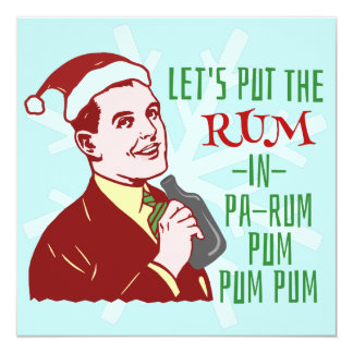 "Funny Christmas Party Retro Rum Adult Holiday 5.25"" Square Invitation Card"