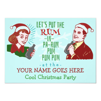 """Funny Christmas Party Retro Rum Adult Holiday v2 5"""" X 7"""" Invitation Card"""