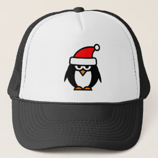 Funny Christmas penguin cartoon Santa Claus hat