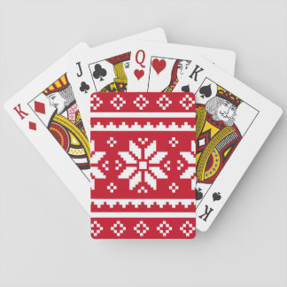 Funny Christmas playing card with nordic pattern