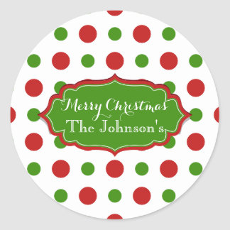 Funny Christmas red and green Polkadots Classic Round Sticker