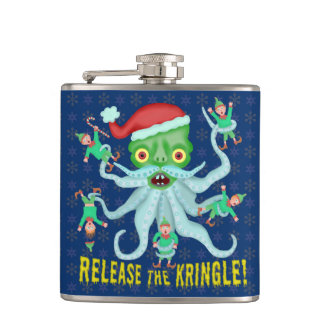 Funny Christmas Release the Kringle Santa Claus Hip Flask