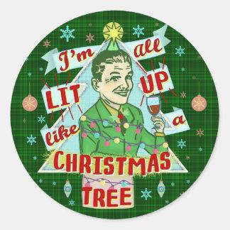 Funny Christmas Retro Drinking Humor Man Lit Up Classic Round Sticker