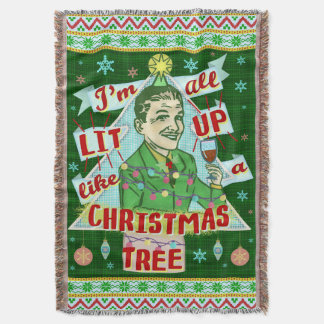Funny Christmas Retro Drinking Humor Man Lit Up Throw Blanket