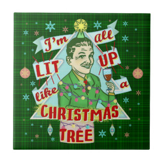 Funny Christmas Retro Drinking Humor Man Lit Up Tile