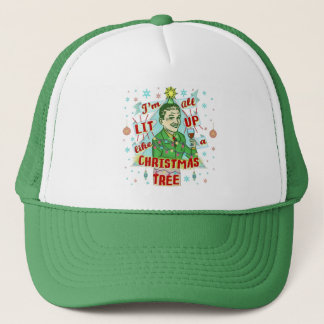 Funny Christmas Retro Drinking Humor Man Lit Up Trucker Hat