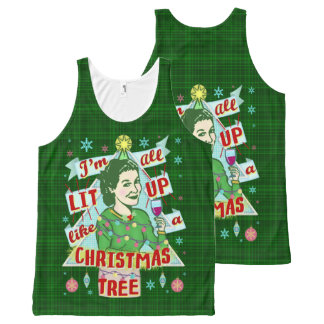 Funny Christmas Retro Drinking Humor Woman Lit Up All-Over-Print Tank Top