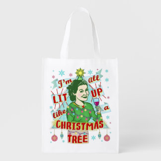 Funny Christmas Retro Drinking Humor Woman Lit Up Reusable Grocery Bag