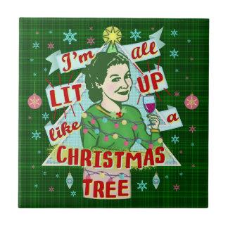 Funny Christmas Retro Drinking Humor Woman Lit Up Tile