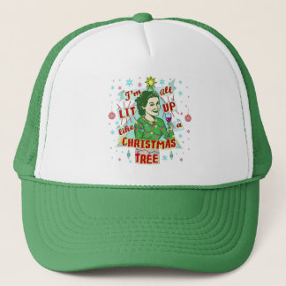 Funny Christmas Retro Drinking Humor Woman Lit Up Trucker Hat