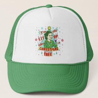 Funny Christmas Retro Drinking Humor Woman Lit Up Trucker Hat