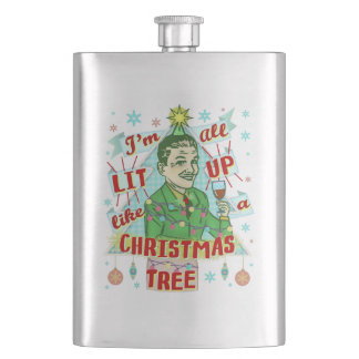 Funny Christmas Retro Drinking Humour Man Lit Up Hip Flask