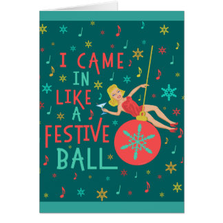 Funny Christmas Retro Woman on Festive Xmas Ball Card