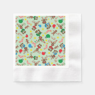Funny Christmas Rudolph Cartoon Pattern Disposable Napkins