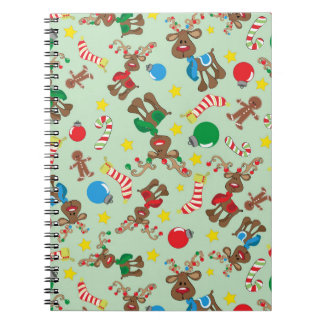 Funny Christmas Rudolph Cartoon Pattern Spiral Notebook