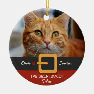 Funny Christmas Santa Cat Photo and Name Custom Ceramic Ornament