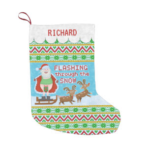 funny christmas santa claus flashing thru snow small christmas stocking - Funny Christmas Stockings