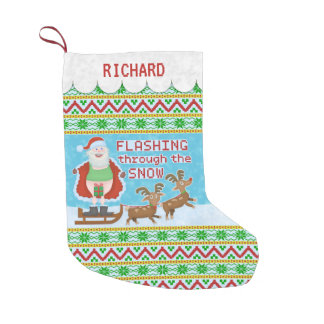 Funny Christmas | Santa Claus Flashing Thru Snow Small Christmas Stocking