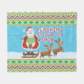 Funny Christmas |Santa Claus Flashing Thru Snow V2 Fleece Blanket