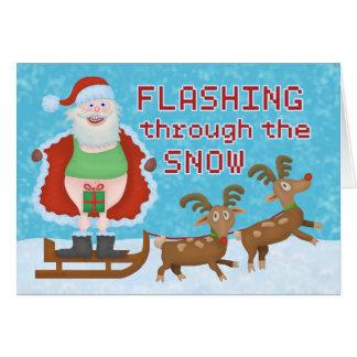 Funny Christmas Santa Claus Flashing Thru the Snow Card