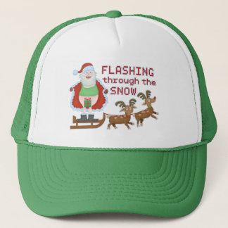 Funny Christmas Santa Claus Flashing Thru the Snow Trucker Hat