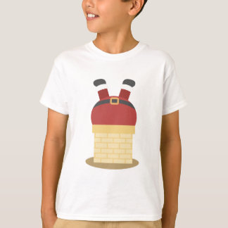 Funny Christmas Santa Claus Stuck in Chimmey T-Shirt