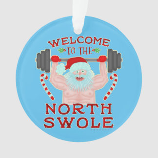 Funny Christmas Santa Claus Swole Weightlifter Ornament