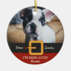 Funny Christmas Santa Dog Photo and Name Custom Ceramic Ornament