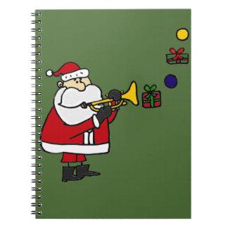 Funny Christmas Santa Playing Trumpet Spiral Notebook