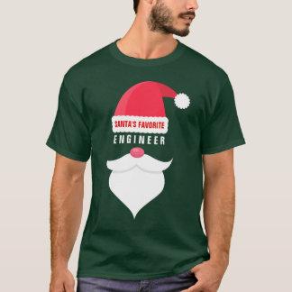 Funny Christmas Santa's Favorite Engineer Custom T-Shirt