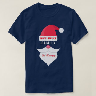 Funny Christmas Santa's Favorite Family Custom T-Shirt