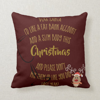 Funny Christmas Sayings Fat Bank Account Slim Body Throw Pillow