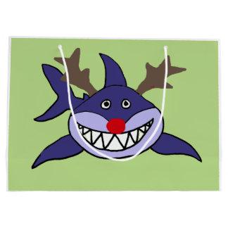 Funny Christmas Shark Reindeer Large Gift Bag